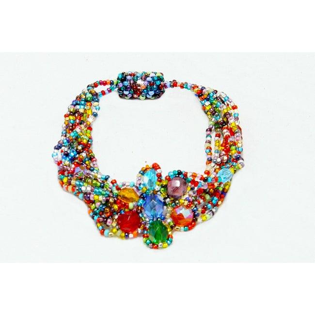Multicolor Glass Bead Flower Magnetic Bracelet (Guatemala)