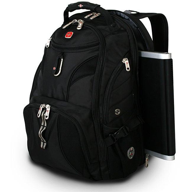 wenger swiss gear black scansmart 17 inch laptop backpack overstock shopping great deals on. Black Bedroom Furniture Sets. Home Design Ideas