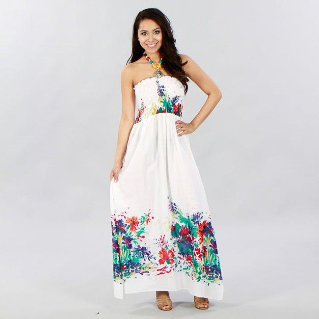 Meetu Magic Women's White Floral Cotton Beaded Halter Maxi Dress