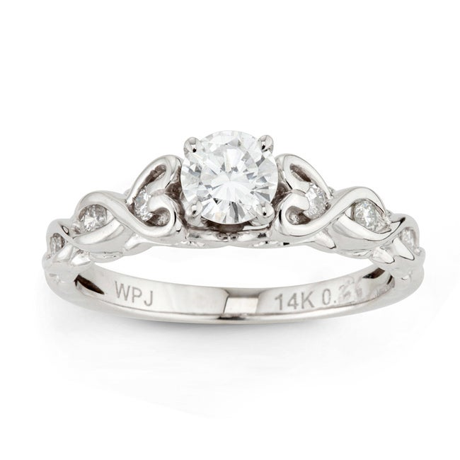 14k White Gold 5/8ct TDW Round Diamond Heart Twist Ring (H-I, I1-I2)