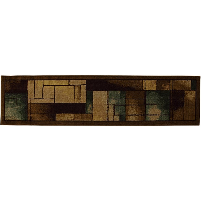 Mohawk Roby Brown/ Blue Contemporary Rug (2' x 8')