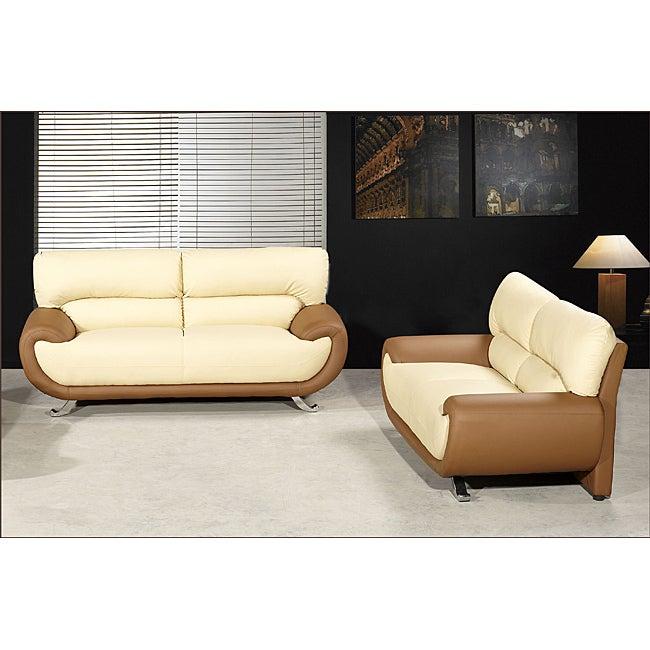 Sasana Faux Leather Two-tone Sofa and Loveseat