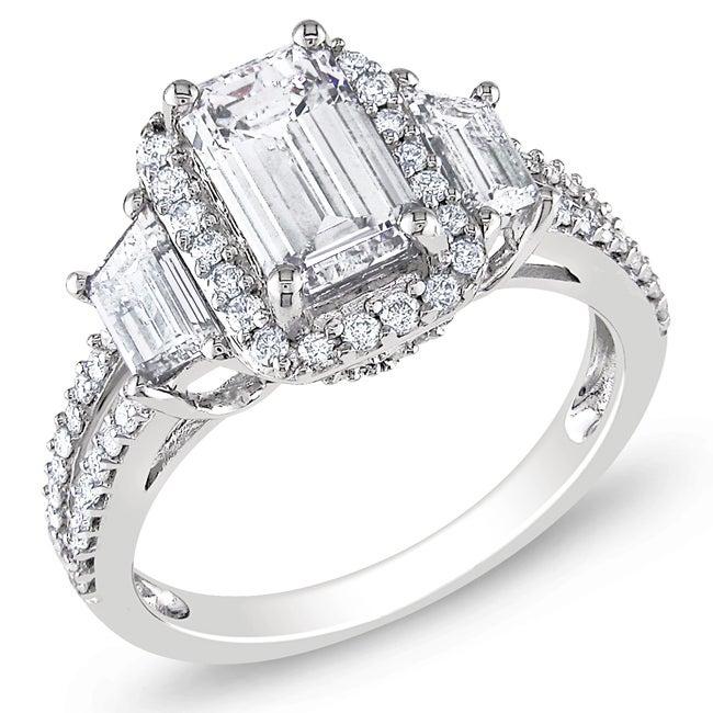 Miadora 14k White Gold 2 1/2ct TDW Emerald-cut Diamond Ring (G-H, SI1-SI2)