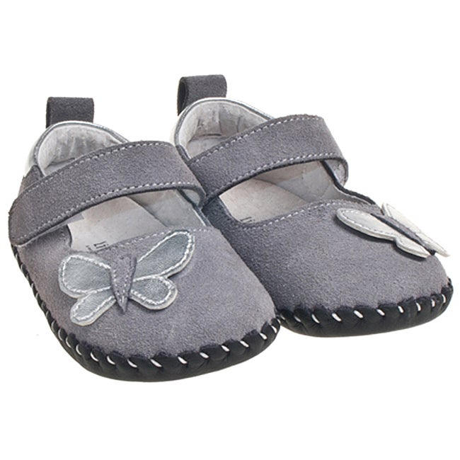 Little Blue Lamb Infant/ Toddler Hand-stitched Grey Leather Walking Shoes