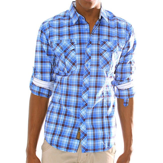191 Unlimited Mens Bright Blue Plaid Woven Shirt