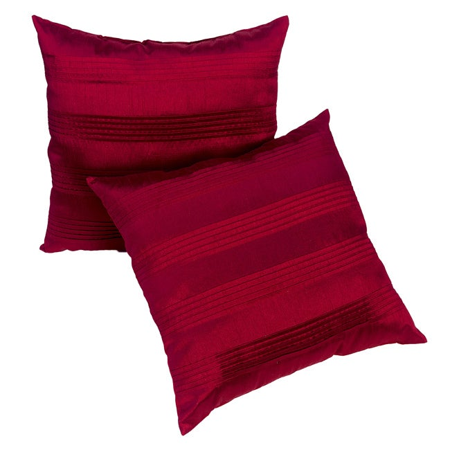 Red Satin Pleated 18-inch Pillows (Set of 2)