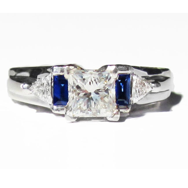 Pre-owned 14k White Gold 1 1/2ct TDW Diamond and Sapphire Estate Ring (H-I, SI1-SI2)