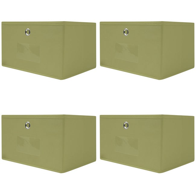 Collapsible Sage Green Fabric Storage Drawers (Pack of 4)