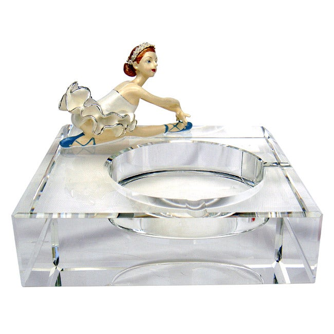 Cristiani Limited Edition Crystal Ashtray with Pewter Ballerina