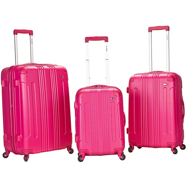 Rockland London Lightweight Magenta 3-piece Hardside Spinner Upright Luggage Set