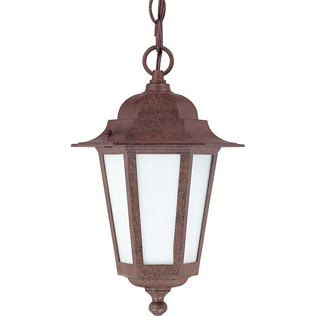 Cornerstone Old Bronze with Satin White Glass 1-light Hanging Lantern