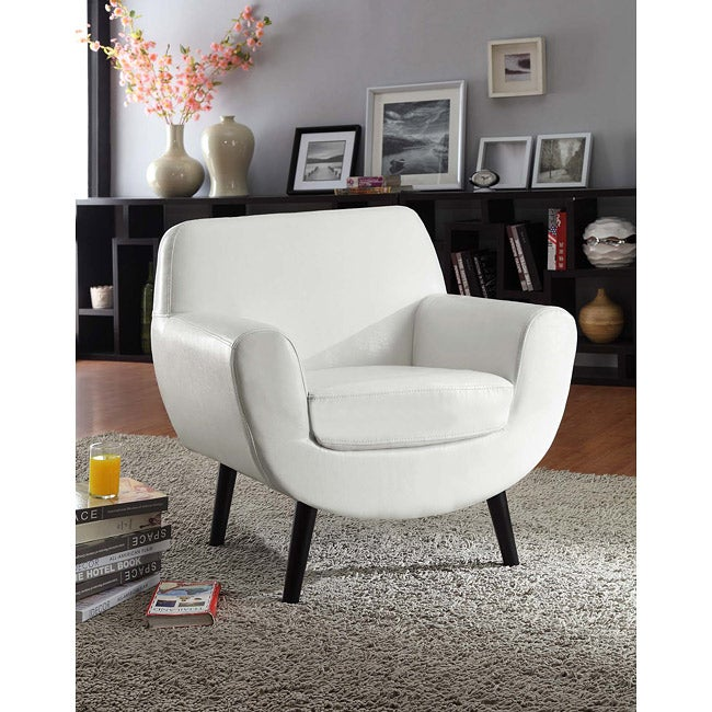 Retro Club Chair In White Vinyl with Black Legs