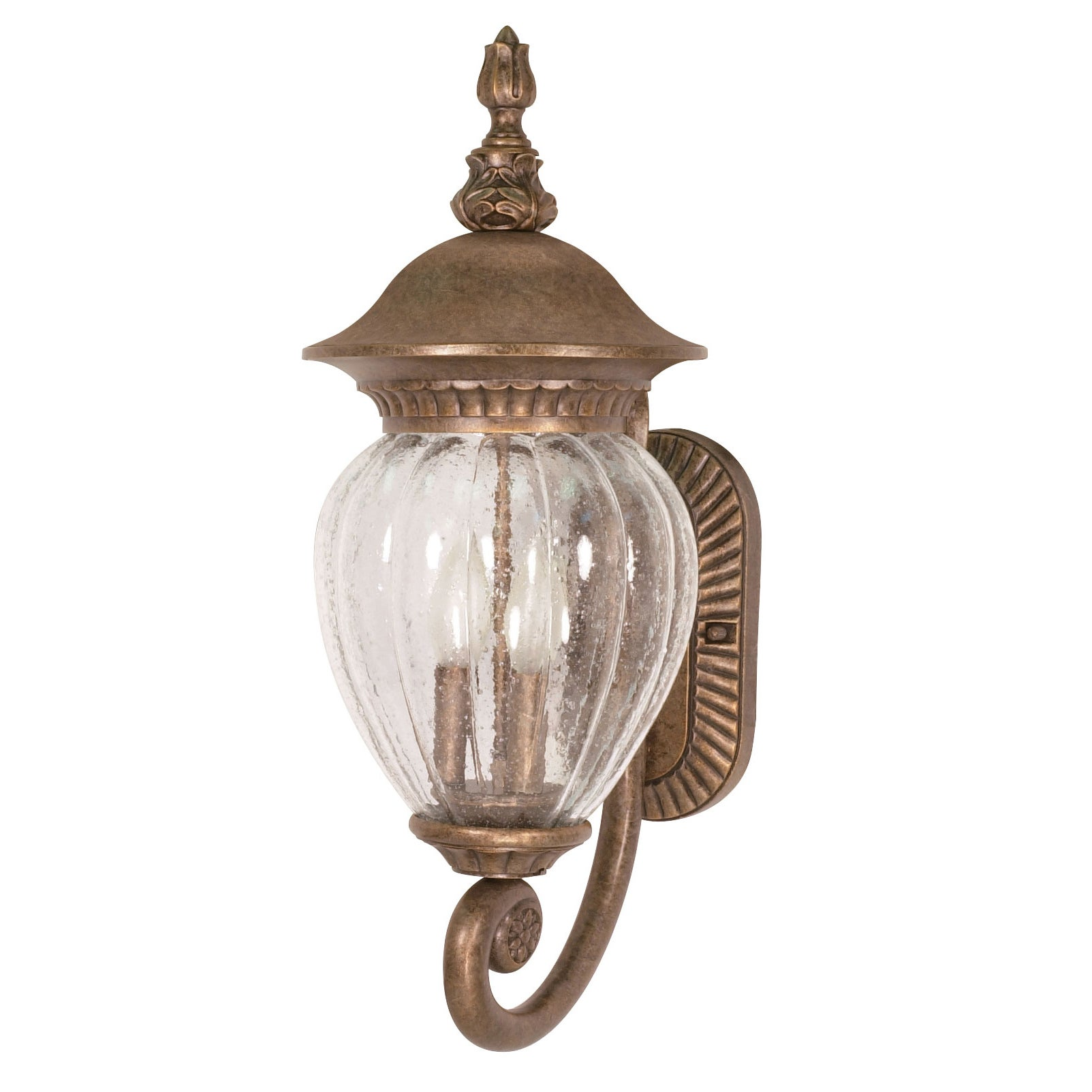 Balun 3 Light Arm Up Platinum Gold With Clear Melon Seed Glass Wall Sconce