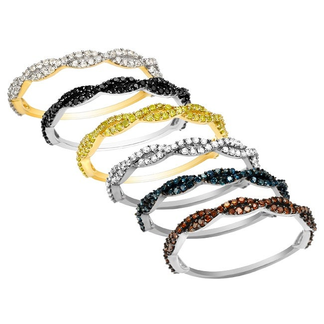 10k Gold 1/4ct TDW Diamond Braided Twist Stackable Ring