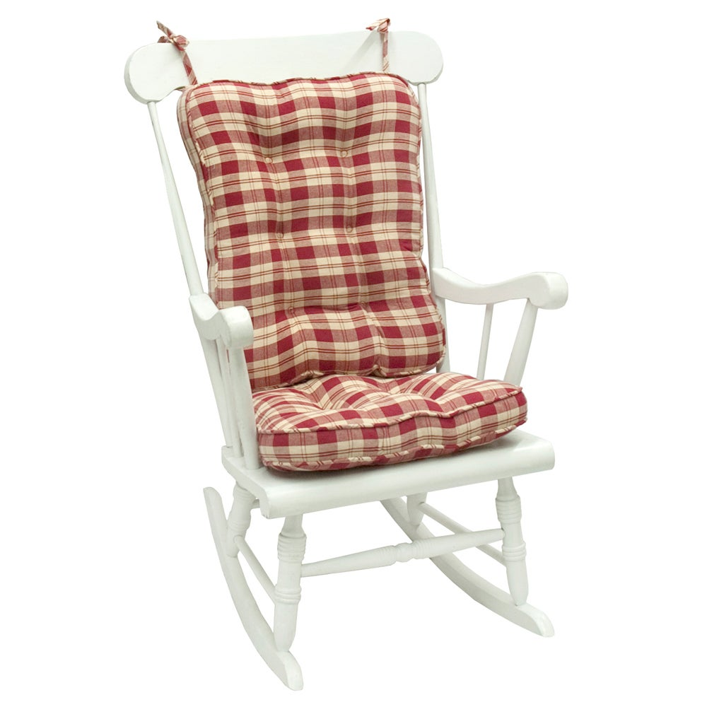 Red Plaid Standard Rocking Chair Cushion