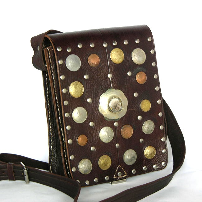 Dark-brown Coin-studded Rustic Moroccan Leather Bag (Morocco)