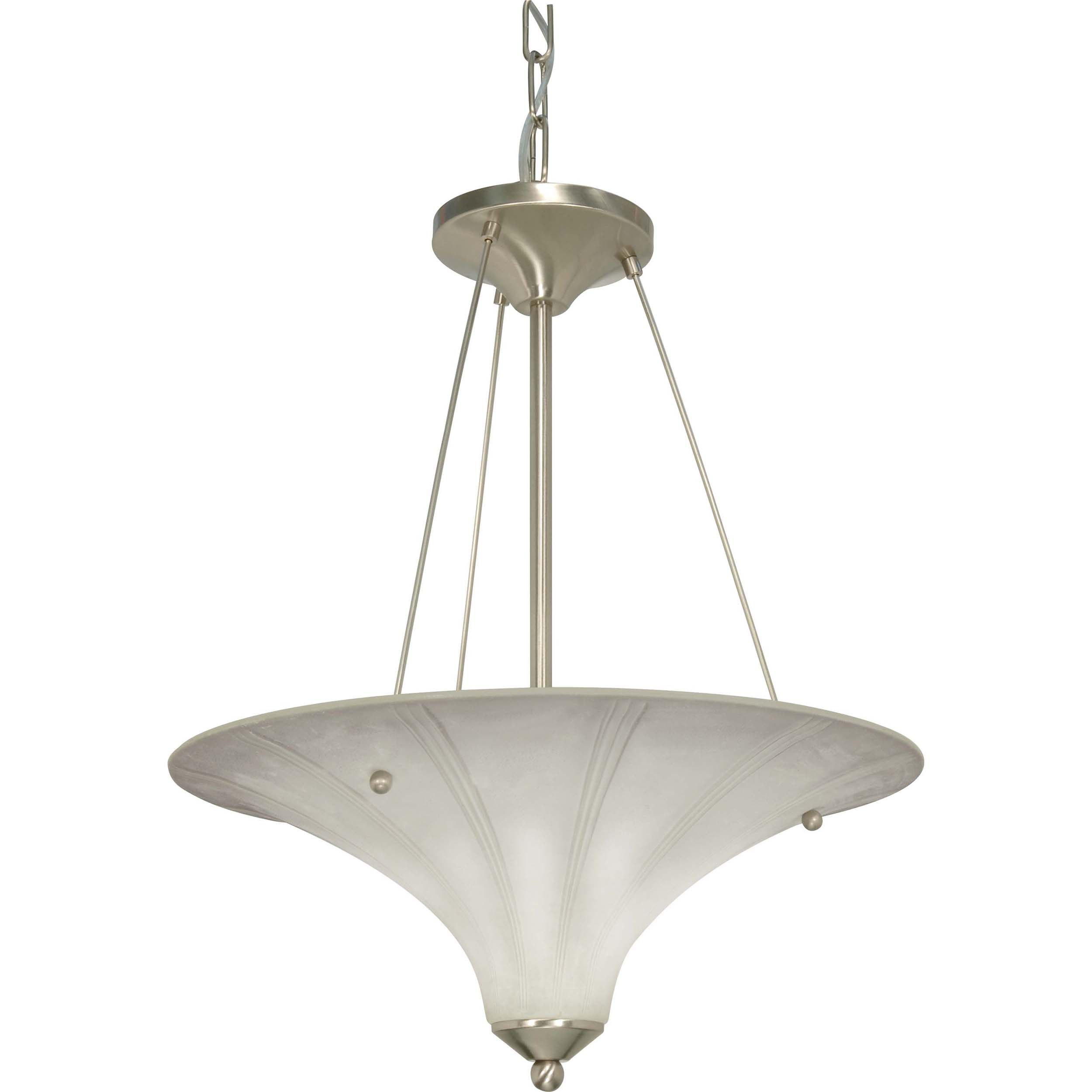 Delano 2 Light Pendant Brushed Nickel with Grey Suede Glass