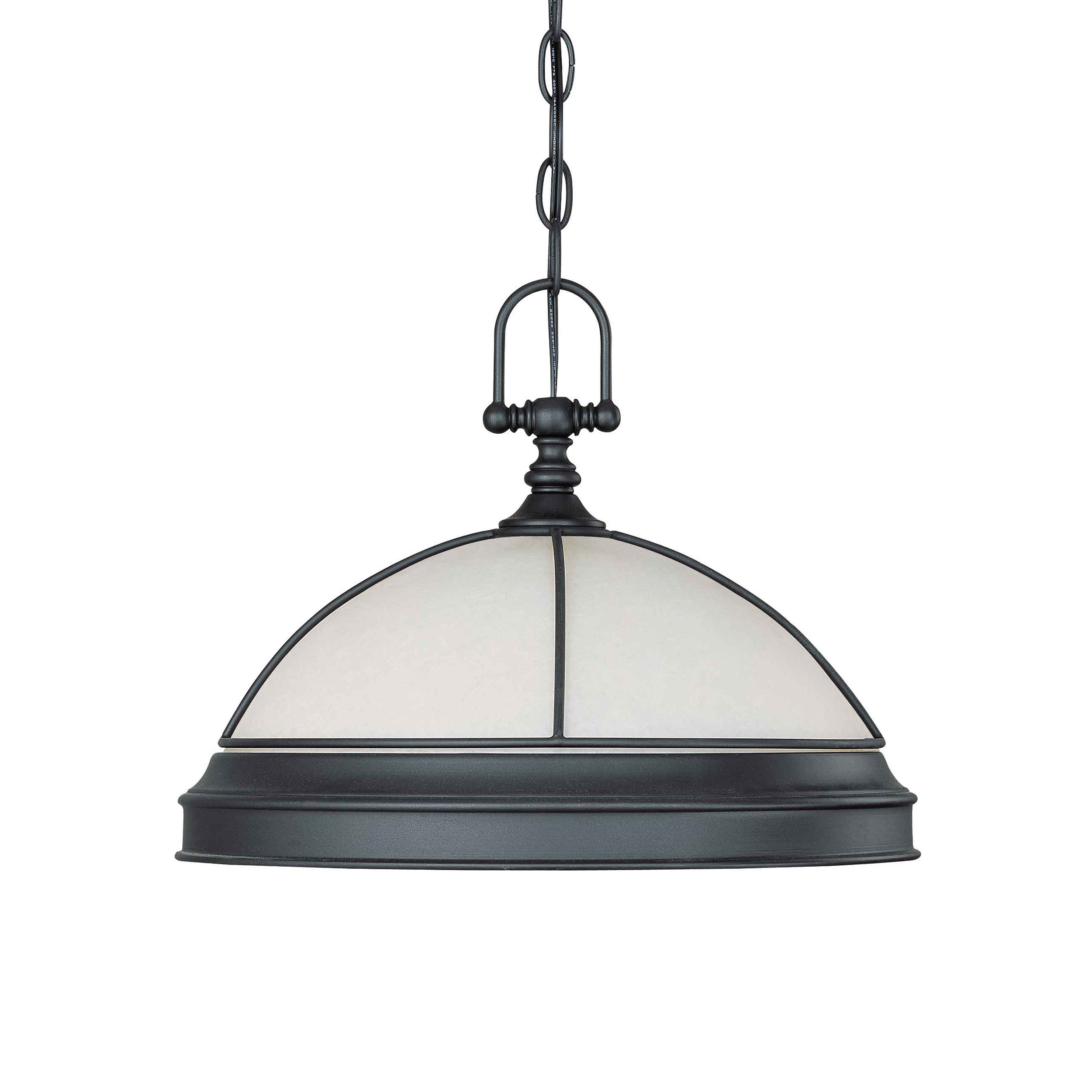 Salem 1 Light Hanging Dome Aged Bronze With Biscotti Glass
