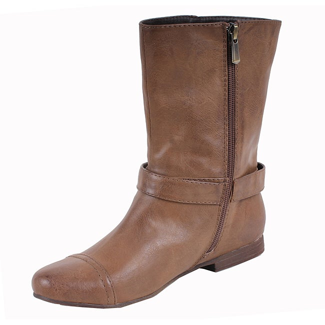Elegant by Beston Women's 'Meley-2' Taupe Buckle Boots