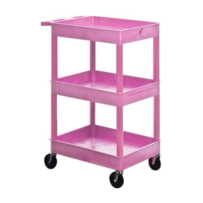 MarketLab Cart For The Cure Multi-shelf Mobile Utility Cart
