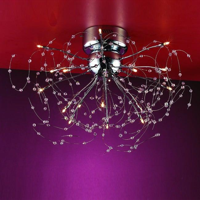 Joshua Marshal Home Collection Medusa 15-light Chrome Crystal Flush Mount Ceiling Fixture