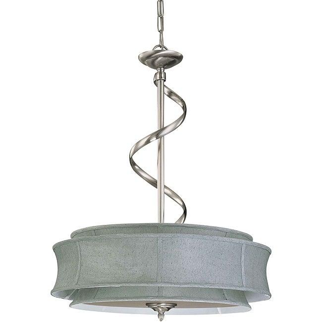 Darwin Nickel and Grey Fabric 3-Light Pendant