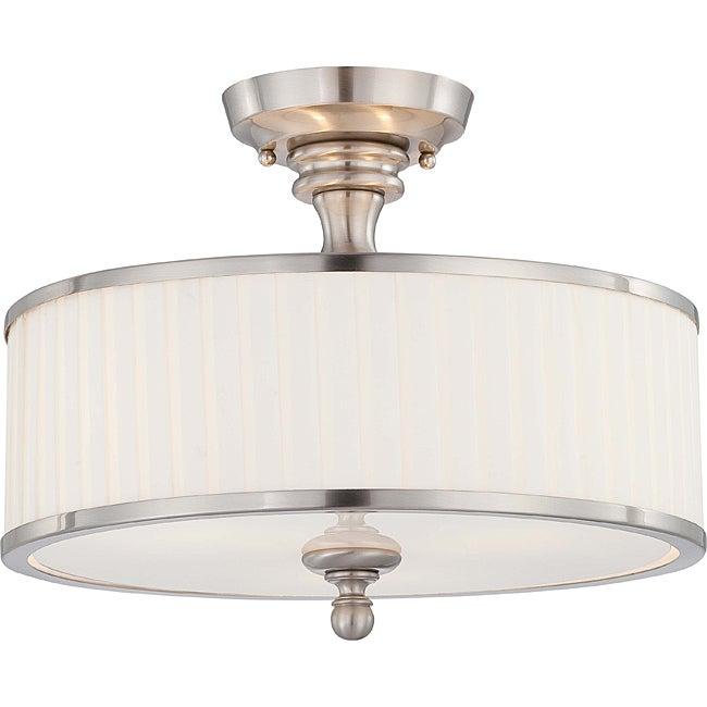 Candice Nickel and Flat Pleated White Shade 3-Light Semi Flush Fixture
