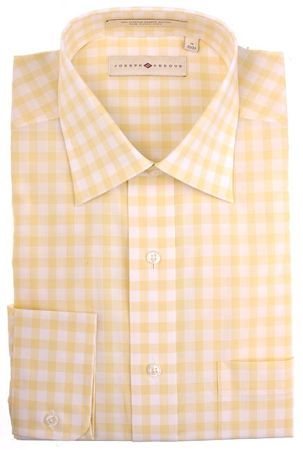Joseph abboud men 39 s yellow gingham check casual shirt for Mens yellow gingham shirt