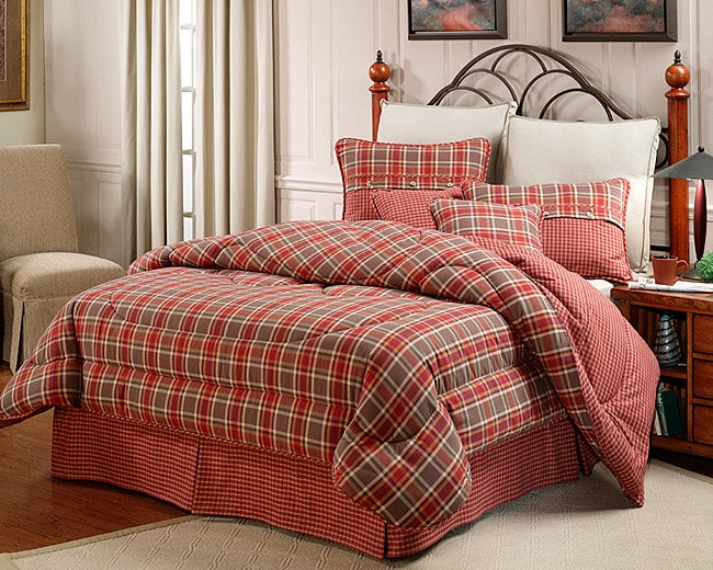 Mulberry Red Green Plaid King Size Comforter Set
