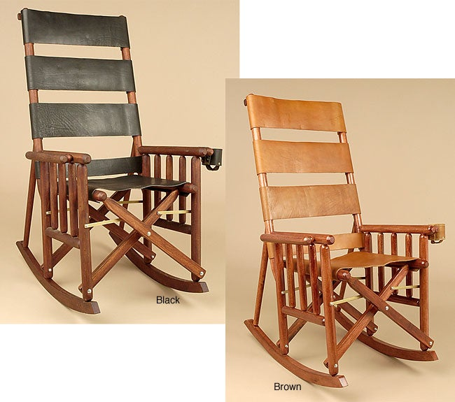 handcrafted leather wood rocking chair costa rica