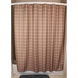 Lincoln Khaki Grid Shower Curtain