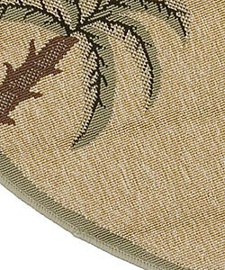 Cafe Series Palm Tree Border Indoor/Outdoor Rug (7'3 Round)