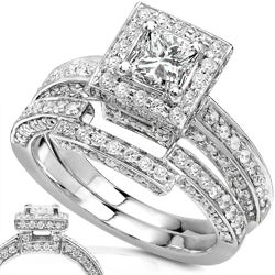 14k Gold 1 1/4ct TDW Princess Diamond Bridal Ring Set