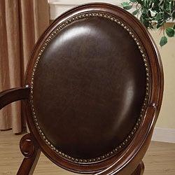 Roll Arm Bi-cast Leather Nailhead Accent Chair