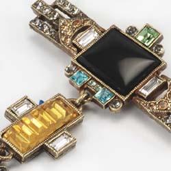 Sweet Romance Vintage Deco Glass Pin