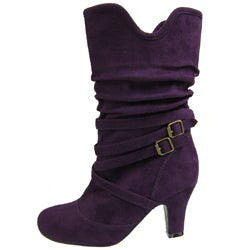 Adi Designs Women's Faux Suede Slouchy High-heel Boots