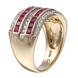 14k Yellow Gold Ruby and 1/3ct TDW Diamond Ring (H-I, I1)