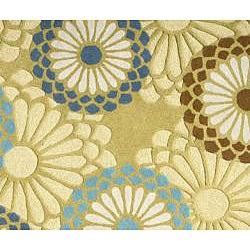 Handmade Aurora Blossom Light Green Wool Rug (4' x 6')