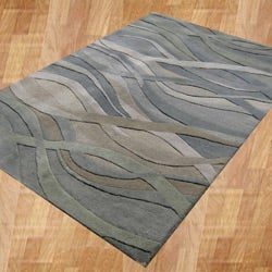 Alliyah Handmade Grey/Green New Zealand Blend Wool Rug (8' x 10')