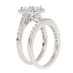Silvertone Asscher-cut Cubic Zirconia Bridal-Inspired Ring Set