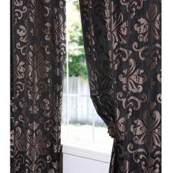Black/ Bronze Patterned Faux Silk Jacquard 120-inch Curtain Panel