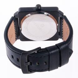 Republic Men's All Black Leather Strap Aviation Watch