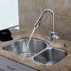 Kraus 30 inch Undermount Double Bowl Stainless Steel Kitchen Sink with Chrome Kitchen Faucet and Soap Dispenser