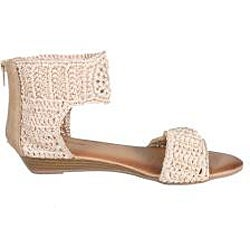 Refresh by Beston Women's 'Tokyo-05' Beige Knit Wedge Sandals