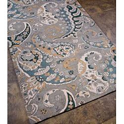 Hand-tufted Grey Paisley Wool Rug (5' x 8')