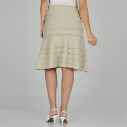 Sharagano Women's Ruffle Linen Skirt