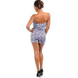 Stanzino Women's Gray/ Pink Floral Strapless Romper