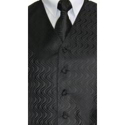 Ferrecci Men's Black Vest Tie 4-piece Accessory Set