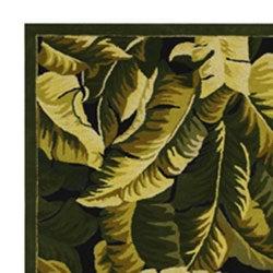 Hand-hooked Tropical Banana Leaf Wool Rug (5' x 8')