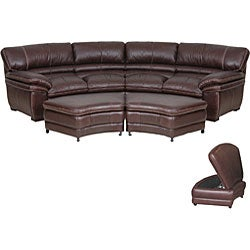 chocolate brown leather sectional sofa with 2 storage ottomans